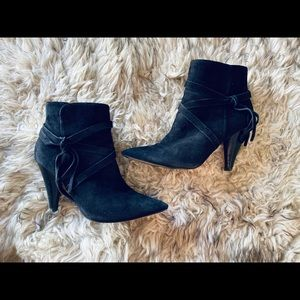 Fringe Suede High Heel Low Boot